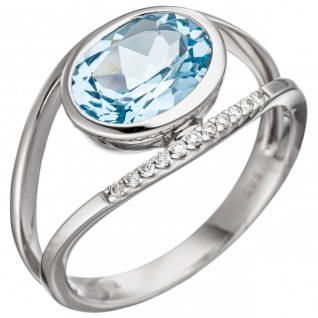 Damen Ring 585 Weißgold 11 Diamanten Brillanten 1 Blautopas hellblau blau