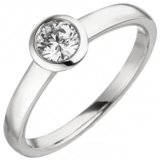 Damen Ring 585 Gold Weißgold 1 Diamant Brillant 0, 25 ct. Diamantring Solitär