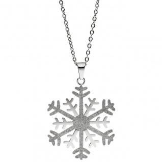 Collier Kette mit Anhänger Schneeflocke Edelstahl mit Glitzer-Effekt 46 cm