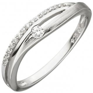 Damen Ring 925 Sterling Silber teil matt 16 Zirkonia Silberring
