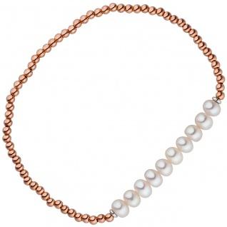 Armband 925 Silber rotgold vergoldet 10 Süßwasser Perlen Perlenarmband flexibel