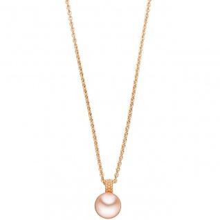 Anhänger 585 Gold Rotgold 1 rosa Süßwasser-Perle Goldanhänger Perlenanhänger
