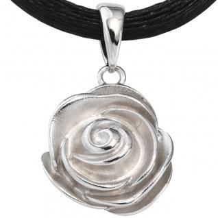 Anhänger Rose 925 Sterling Silber rhodiniert mattiert - Vorschau 3