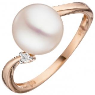 Damen Ring 585 Rotgold 1 Süßwasser Perle 1 Diamant Brillant Perlenring
