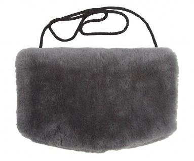 warmer Lammfell Pelzmuff, Felltasche anthrazit mit Reißverschlusstasche wasch...