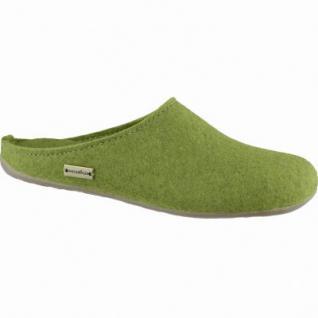 Haflinger Fundus Damen Schurwoll Hausschuhe Pantoffeln grasgrün, warmes Kork Fußbett, für lose Einlagen, 1939101/36