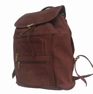 Wasserbüffel Leder Rucksack braun, 2 Vortaschen mit Reißverschluss, ca. 37x38 cm