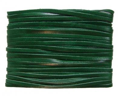 weiches Leder Flechtband Ziegenleder auf Karte dunkelgrün, Länge 10 m, Breite...