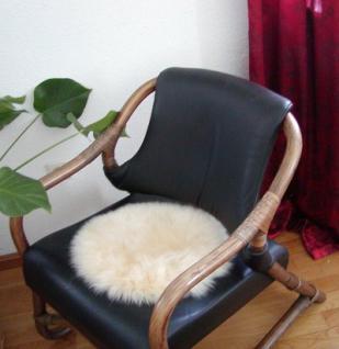 runde Sitzauflage aus australischen Lammfellen, Fellkissen rund beige, Ø ca. 45 cm, waschbar, Haarlänge ca. 70 mm