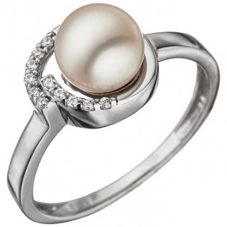 Damen Ring 925 Sterling Silber mit 1 Süßwasser Perle und Zirkonia Perlenring