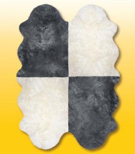 Fellteppiche naturweiß-grau aus 4 Lammfellen, Größe ca. 185 x 125 cm, 30 Grad waschbar