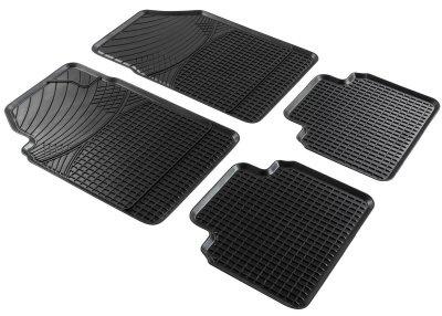 Universal Komplett Set Auto Gummimatten schwarz 4-tlg. zuschneidbar, 44x39/67 cm, Anti Slip, Auto Fußmatten, Schutzmatten