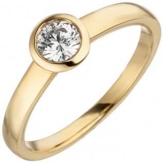 Damen Ring 585 Gold Gelbgold 1 Diamant Brillant 0, 15 ct. Diamantring Solitär