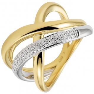 Damen Ring 585 Gold Gelbgold Weißgold bicolor 61 Diamanten Brillanten Goldring