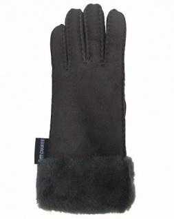 Damen Winter Fell Finger Handschuhe grau mit Pelzmanschette, Größe 7