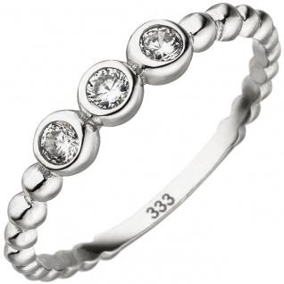 Damen Ring Kugel 333 Gold Weißgold 3 Zirkonia Kugelring Weißgoldring