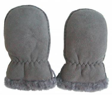 Lammfell Handschuhe Babys grau, Baby Fell Fäustlinge, Größe M