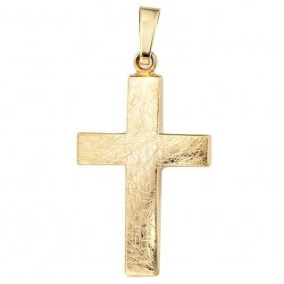 Anhänger Kreuz 333 Gold Gelbgold eismatt Kreuzanhänger Goldkreuz