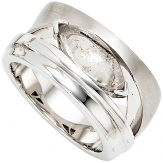 Damen Ring breit 925 Sterling Silber rhodiniert teil matt 1 Turmalinquarz