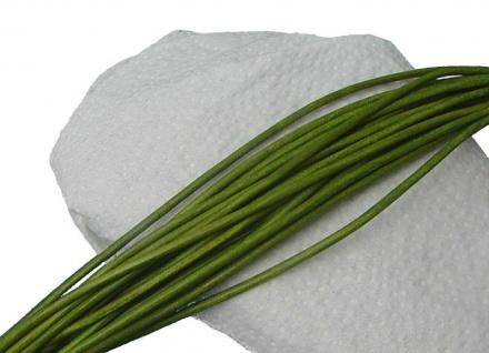 10 Stück Ziegenleder Rundriemen hellgrün, geschnitten, für Lederschmuck, Lede...