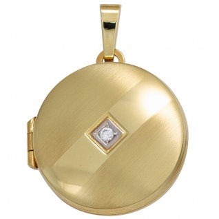 Medaillon rund 333 Gold Gelbgold mattiert 1 Zirkonia Anhänger zum Öffnen - Vorschau 1