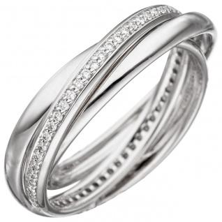 Damen Ring 585 Gold Weißgold 58 Diamanten Brillanten Diamantring Weißgoldring