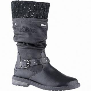 s.Oliver Mädchen Leder Imitat Winter Tex Stiefel black, 25 cm Schaft, Warmfutter, weiches Soft Foam Fußbett, 3741243