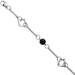 Armband aus Edelstahl mit schwarzem Achat 21 cm Karabiner