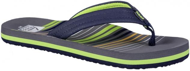 REEF Kids Ahi Jungen Pantoletten mit Zehensteg stripe green, weiches Fußbett,...