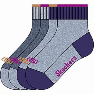 Skechers Basic NOS Quarter Girls Mädchen Socken stone, 4er Pack Skechers Mädchen Socken blaugrau, 6539120/23-26