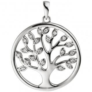 Anhänger Baum Lebensbaum 925 Sterling Silber 21 Zirkonia Silberanhänger