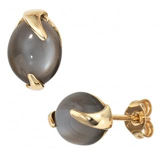 Ohrstecker 585 Gold Gelbgold 2 Mondsteine Ohrringe Goldohrstecker