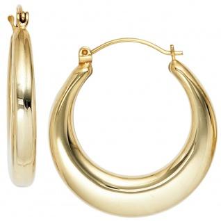 Creolen 585 Gold Gelbgold Ohrringe Goldohrringe Goldcreolen - Vorschau 2