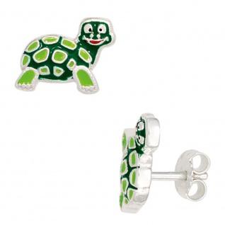 Kinder Ohrstecker Schildkröte grün 925 Sterling Silber Ohrringe Kinderohrringe