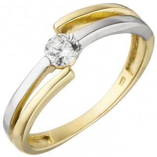 Damen Ring 333 Gold Gelbgold Weißgold bicolor 1 Zirkonia Goldring