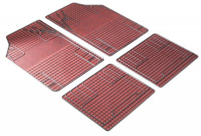 4er Set Universal Auto Gummimatten New Style rot, zuschneidbar, Anti Slip, rutschhemmende Spikes, Auto Fußmatten, Schutzmatten