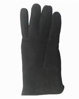Damen Velourleder Lammfell Fingerhandschuhe aus Fellstücken schwarz, Damen Fe...