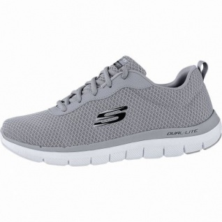 Skechers Flex Advantage 2.0 coole Herren Mesh Sneakers grey, Air-Cooled Memory Foam-Fußbett, 4240169/39