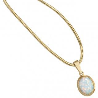 Anhänger oval 333 Gold Gelbgold 1 Opal Goldanhänger