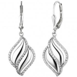 Ohrhänger 925 Sterling Silber 86 Zirkonia Ohrringe Boutons Silberohrringe