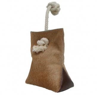 Türstopper aus Kuhfell und Leder hellbraun mit Kordel 23x18 cm, ca. 1, 5 kg, T...