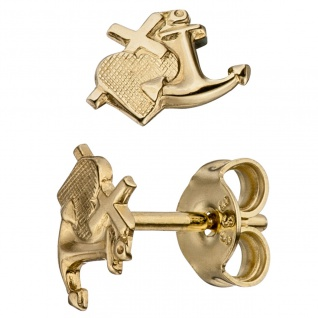 Ohrstecker Glaube Liebe Hoffnung 333 Gold Gelbgold matt Ohrringe Goldohrringe
