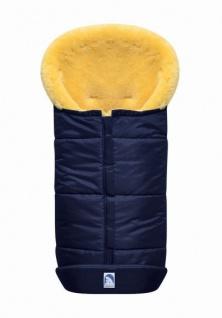 großer Baby Premium Winter Lammfell Fußsack blau waschbar, Kinderwagen, Buggy, ca. 100x44 cm, komplett aufklappbar