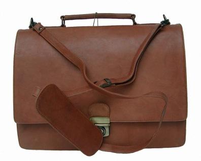 elegante Damen Leder Aktentasche cognac, 3 Fächer, Top-Ausstattung, DIN A4