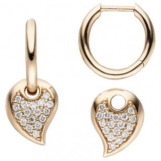 Creolen 585 Gold Rotgold 34 Diamanten Brillanten Ohrringe Diamantohrringe