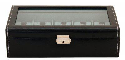 Friedrich Lederwaren großer Kunstleder Uhrenkasten mit Schloss, Glasdeckel für 10 Uhren schwarz, Serie Bond, ca. 30x17x8, 5 cm