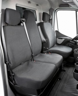 Passform Sitzbezüge Transporter VW T5, passgenauer Stoff Sitzbezug 3er Rückbank Pritsche, Bj. 04/2003-06/2015