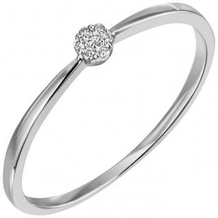 Damen Ring schmal 585 Gold Weißgold 7 Diamanten Brillanten Weißgoldring