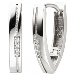 Creolen oval 925 Sterling Silber 6 Zirkonia Ohrringe Silbercreolen Silberohrring