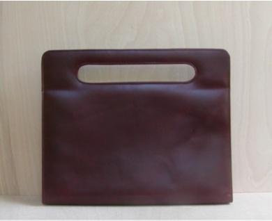 elegante Leder Damen Dokumentenmappe rotbraun, für DIN A4, ca. 40x34 cm